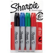 Sharpie Chisel Tip Permanent Marker - Chisel Marker Point Style - Black, Blue, Red, Green - 4 / Pack