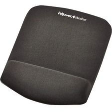 """Fellowes PlushTouch Mouse Pad/Wrist Rest with FoamFusion Technology - Graphite - 1"""" (25.40 mm) x 7.25"""" (184.15 mm) x 9.38"""" (238.25 mm) Dimension - Graphite - Memory Foam - Wear Resistant, Tear Resistant - 1 Pack"""