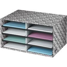 "Fellowes Brocade Literature Sorter - Letter - Compartment Size 2.13"" (54.10 mm) x 9"" (228.60 mm) x 12"" (304.80 mm) - 10.3"" Height x 19.5"" Width x 12.4"" Depth - Desktop - 60% - White, Black - 1 Each"