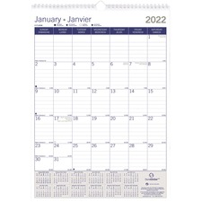 "Blueline Monthly Wall Calendar - Yearly, Monthly - January 2020 till December 2020 - 1 Month Single Page Layout - 12"" x 17"" - Twin Wire - Wall Mountable - Paper - Bilingual, Reinforced"