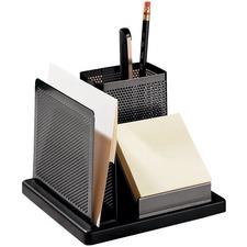 Rolodex Distinctions Desk Organizer, 5 7/8 x 5 7/8 x 4 1/2, Metal/Black - Desktop - Non-skid - Black - Metal, Wood - 1 Each