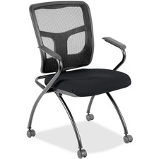 LLR8437449 - Lorell Mesh Back Fabric Seat Nesting Chairs