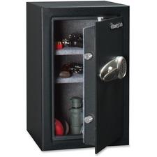 "Sentry Safe T6-331 Electronic Security Safe - 67.30 L - Key Lock - 4 Live-locking Bolt(s) - Internal Size 22.4"" x 15.1"" x 12.1"" - Overall Size 23.9"" x 15.4"" x 16.1"" - Black - Steel"
