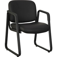 LLR 84577 Lorell Black Leather Guest Chair LLR84577