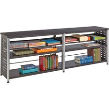 "Safco Scoot Credenza Contemp Design Bookcase - 72"" x 15.5"" x 25"" - 4 Shelve(s) - Material: Steel, Particleboard - Finish: Black, Laminate, Powder Coated"