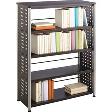 "Safco Scoot Contemporary Design Bookcase - 36"" x 15.5"" x 47"" - 4 Shelve(s) - Material: Steel, Particleboard - Finish: Black, Laminate, Powder Coated"