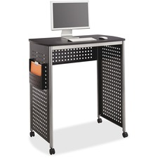 "Safco Scoot Stand-Up Workstation - 38.5"" x 23.3"" x 41.8"" - Material: Steel, Fiberboard - Finish: Black, Laminate, Silver, Powder Coated"