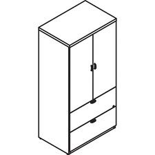 LAS72D2065LFBB - Lacasse Storage Unit with Lateral File. 2 Adjustable Shelves