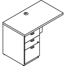 LAS71KUF2448RB - Lacasse Left Executive Return ? Low Profile - 3-Drawer