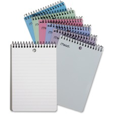 "Mead Memo Book - 150 Pages - 75 Sheets - Wire Bound - 4"" x 6"" - White Paper - Black Binder - Assorted Cover - Poly Cover - Hole-punched - 1Each"