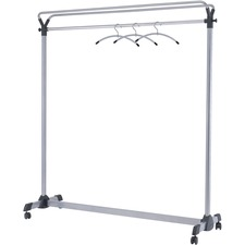 "Alba Upper Shelf Double-sided Garment Rack - 50 x Coat - 66.9"" Height x 19.7"" Width - Floor - Silver - Steel, Plastic - 1Each"