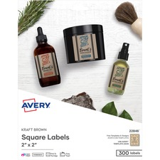 AVE 22846 Avery Print-to-the-Edge Kraft Brown Square Labels AVE22846
