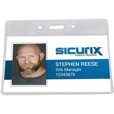 BAU67815 - SICURIX Vinyl Punched ID Badge Holders - Horizontal