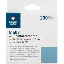 """Business Source Self-adhesive 1/4"""" Reinforcements - White - 200 / Pack"""