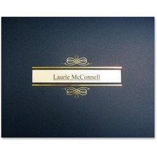 St. James® Recycled Certificate Holder - Linen - Navy Blue, Gold - 5 / Pack