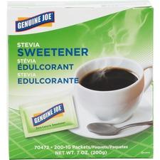 Genuine Joe Stevia Natural Sweetener Packets - 1 g - Natural Sweetener - 200/Box