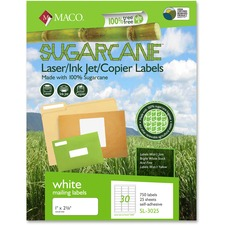 MAC MSL3025 Maco Printable Sugarcane Shipping Labels MACMSL3025
