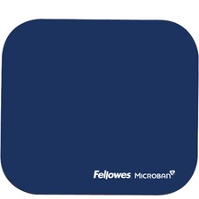 """Fellowes Microban® Mouse Pad - Blue - 8"""" (203.20 mm) x 9"""" (228.60 mm) x 0.13"""" (3.30 mm) Dimension - Blue - Rubber Base, Polyester Surface - Wear Resistant, Tear Resistant, Skid Proof - 1 Pack"""