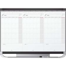 QRTCMP32P2 - Quartet® Prestige® 2 Sliding Three Month Calendar Board, 3' x 2', Total Erase® Surface