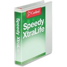 """Cardinal White Speedy XtraLife Slant-D Binder - 1"""" Binder Capacity - Letter - 8 1/2"""" x 11"""" Sheet Size - 270 Sheet Capacity - 3 x D-Ring Fastener(s) - 2 Internal Pocket(s) - Polyolefin-covered Chipboard - White - 453.6 g - Recycled - Crack Resistant, Clear Overlay, PVC-free, Non-stick, Locking Ring, Exposed Rivet, Spine Label, Cold Resistant, Sturdy, Split Resistant, Tear Resistant, ..."""