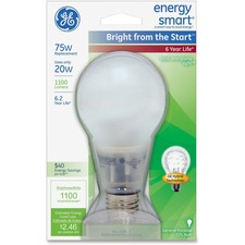 GEL 63504 GE Lighting Bright Energy Smart 20W CFL Bulb GEL63504