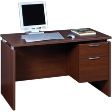 """Star Single Pedestal Desk MA 11-2448 - Rectangle Top - 48"""" Table Top Width x 24"""" Table Top Depth x 1"""" Table Top Thickness - 29"""" Height - Assembly Required - Cayenne Cherry, Laminated, Satin Silver"""