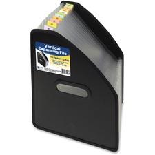 """C-Line Letter Expanding File - 8 1/2"""" x 11"""" - 750 Sheet Capacity - 13 Pocket(s) - 12 Divider(s) - Polypropylene - Black - 1 Each"""
