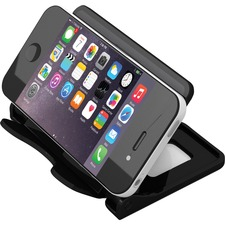 "Deflecto Hands-Free Smartphone Stand - 2.75"" (69.85 mm) x 4"" (101.60 mm) x 2.75"" (69.85 mm) - 1 Each - Black"