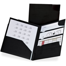 """TOPS Divide It Up Letter Portfolio - 8 1/2"""" x 11"""" - 110 Sheet Capacity - 4 Internal Pocket(s) - Polypropylene - Black - 5 / Pack"""