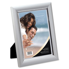 """First Base Elementals 5x7 Easy Insert Frame White Pearl - 5"""" x 7"""" Frame Size - Rectangle - Tabletop, Wall Mountable - Landscape, Portrait - Hinged Easel, Hanger, Swivel Clip - 1 Each - Metal - White Pearl"""