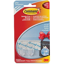 Command Clear Small Hooks - 2 Small Hook - 453.6 g Capacity - Clear, Clear - 2 / Pack