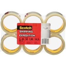 """Tartan Commercial Grade Packaging Tape - 54.6 yd (49.9 m) Length x 1.88"""" (47.8 mm) Width - 1.90 mil (0.05 mm) Thickness - 3"""" Core - Polypropylene - 6 / Pack - Clear"""