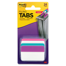 """Post-it® Solid Colours Angled Filing Tabs - 24 Tab(s)2"""" Tab Width - Self-adhesive - Assorted Tab(s) - 24 / Pack"""