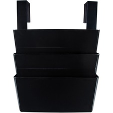 "Storex Wall Pocket - 3 Pocket(s) - 14.3"" Height x 13"" Width x 4"" Depth - Wall Mountable - Recycled - Black - 3 / Set"