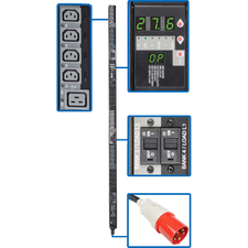 Tripp Lite PDU 3-Phase Switched 220V/230V 27.6kW C13 C19 IEC309 63A Red 0U