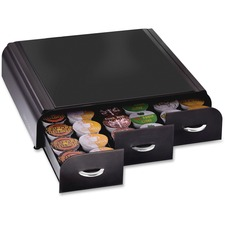 "Mind Reader EMS Mind 3-drawer Coffee Pod Organizer - 36 x Coffee Pod - 3 Drawer(s) - 13.5"" Height x 13.3"" Width x 3.3"" Depth - Counter - Black, Chrome Housing, Handle - 1Each"