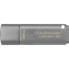 Kingston 32GB DataTraveler Locker+ G3 USB 3.0 Flash Drive - 32 GB - USB 3.0 - 135 MB/s Read Speed - 40 MB/s Write Speed - Silver - 1 Each