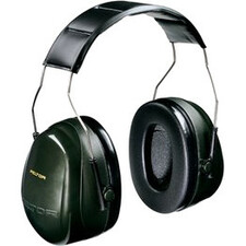 Peltor Optime 101 Over-the-Head Earmuffs, Hearing Conservation H7A 10 EA/Case - Adjustable Height - Noise Reduction Rating Protection - Stainless Steel Headband, Acrylonitrile Butadiene Styrene (ABS), Foam Earcup - Green, Black - 1 Each