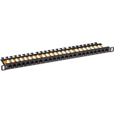 Black Box SpaceGAIN CAT6 Half-U Patch Panel, 24-Port, Unshielded