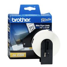 "Brother QL Printer DK1204 Multipurpose Labels - 2 1/8"" Width x 21/32"" Length - Rectangle - Direct Thermal - White - Paper - 400 / Roll - 400 / Roll"