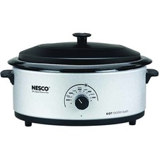 Nesco 6 Qt. Silver Roaster, Glass Lid and Porcelain Cookwell