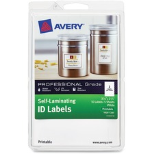 AVE 00761 Avery Laser/Inkjet Self-Laminating ID Labels AVE00761