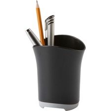 Storex Pencil Cup Iceland - Plastic - 1 Each - Black, Silver