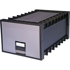 """Storex Stackable Poly Legal Archive Drawers - External Dimensions: 15"""" Width x 23.5"""" Depth x 11""""Height - Media Size Supported: Legal, Letter - Interlocking Closure - Heavy Duty - Stackable - Polypropylene - Gray - For File - Recycled - 1 Each"""