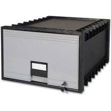 """Storex Stackable Poly Legal Archive Drawer - External Dimensions: 18"""" Width x 23.5"""" Depth x 11""""Height - Media Size Supported: Legal - Heavy Duty - Stackable - Polypropylene - Black, Gray - For File - Recycled - 1 Each"""