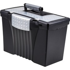 """Storex Supply Compartment Plastic File Box - External Dimensions: 9"""" Width x 11.5"""" Depth x 17""""Height - Media Size Supported: Legal, Letter - Heavy Duty - Plastic - Black - For Document - Recycled - 1 Each"""