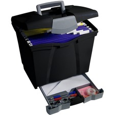 """Storex Portable File Boxes w/Supply Drawer - External Dimensions: 13"""" Width x 11.3"""" Depth x 14""""Height - Media Size Supported: Letter - Latching Closure - Plastic - Black - For File, Hanging Folder - Recycled - 1 Each"""