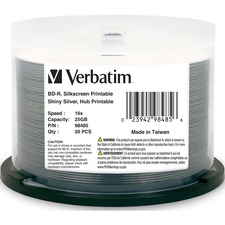 Verbatim BD-R 25GB 6X Shiny Silver Silk Screen Printable, Hub Printable - 50pk Spindle