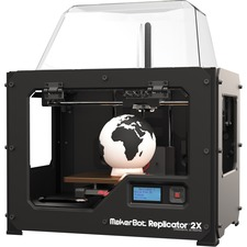 """MakerBot Replicator 2X Experimental 3D Printer - 6.30"""" (160 mm) x 5.91"""" (150 mm) x 9.84"""" (250 mm) Build Size - Fused Filament Fabrication - Double Jet - 3.94 mil (0.10 mm) Layer - 68.90 mil (1.75 mm) Filament - Plastic Supported"""