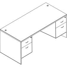 "OSP Furniture Double Pedestal Desk 60""x30"" - 60"" x 30"" - Double Pedestal - Tri-groove Reeded Edge - Material: Wood Grain, Polyvinyl Chloride (PVC) - Finish: Laminate, Urban Walnut"